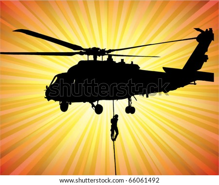 helicopter rescue operation - vector illustration - stock vector