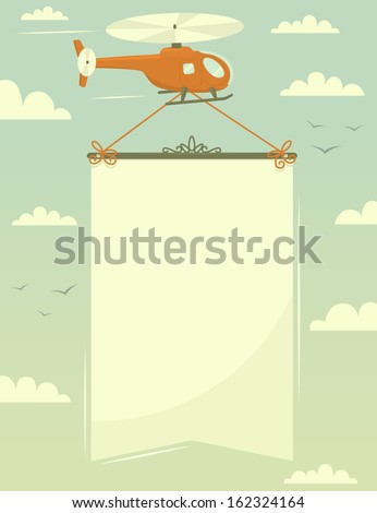 Helicopter with banner. Vector illustration.  - stock vector