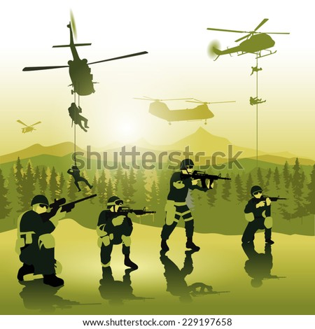 Helicopters gets ready for landing troops on battle field. Vector illustration - stock vector