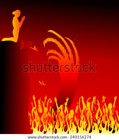 Hell.Satan hand in hell (Lake of Fire)-Vector illustration - stock vector