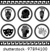 hellenic buttons. stencil. fourth variant. vector illustration - stock vector