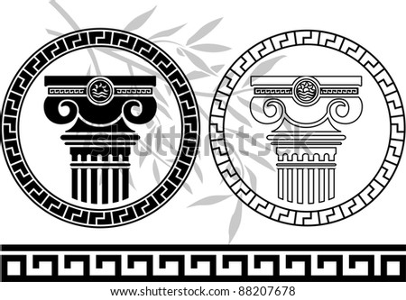 hellenic columns and olive branch. second variant. stencil. vector illustration - stock vector