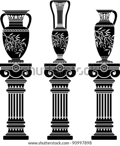 hellenic jugs with ionic columns.stencil. second variant. vector illustration - stock vector