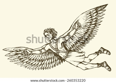 Hellenic Myth tale historic symbolic character hero IKAROS is son of master DAEDALUS soar in sky, fall to death as burnt feathers. Freehand ink drawn background sketch in art scribble antiquity style - stock vector