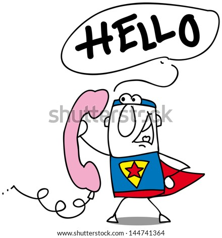 hello. A super hero with a retro pink phone. - stock vector