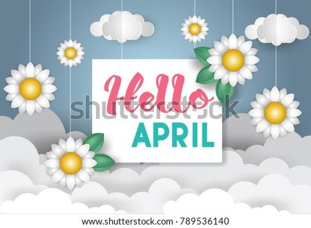Hello april greetings concept flowersleaves clouds stock vector hello april greetings concept flowersleaves and clouds with textorigami mobile mightylinksfo