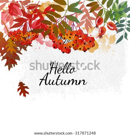 Hello autumn. Autumn vector background