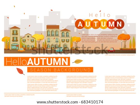 Hello Autumn Cityscape Background , Vector , Illustration