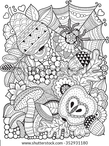 Autumn page stock photos royalty free images vectors for Fall coloring pages for adults printable
