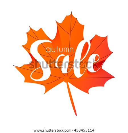 Hello Autumn template with orange Maple Leaf on gray background, design, sale autumn, sale, hello autumn, orange leaf sale, autumn, autumn sale, gold autumn, sale template, autumn sale, gold leaf sale - stock vector