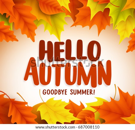 Hello autumn text greetings vector banner stock vector 687008110 hello autumn text greetings in vector banner design with colorful maple leaves in white background for m4hsunfo