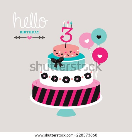 Hello birthday cake and balloon illustration postcard cover design template background in vector - stock vector