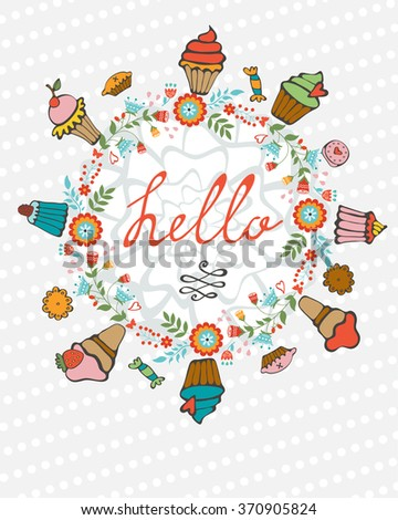 Hello card with hand drawn desserts composed in a heart - stock vector