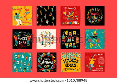 Hello carnival!. Vector templates for Mardi Gras concept and other users