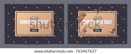 Hello christmas sale posters. Beautiful holiday background with snowflakes and decorations. Voucher discount. Vector illustration