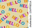 Hello Colorful Words in Seamless Pattern. Vector Illustration - stock photo