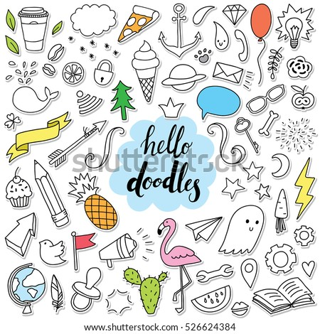 hello doodle set with most popular hand-drawn stickers