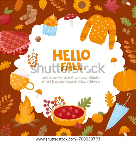 Superb Hello Fall Greeting Card. Illustration With Autumn Objects. Frame With  Leaves, Warm Sweater