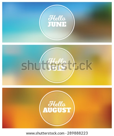 Hello June   July   August   Summer Timeline Cover Graphic Design  Background Set
