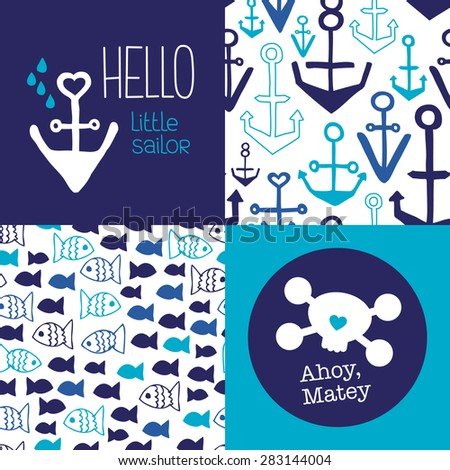 Hello little sailor kids marine anchor fish seamless background pattern set and ahoy matey pirate postcard cover design in vector - stock vector