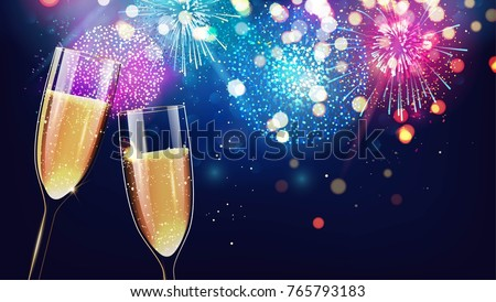 Hello 2018. Merry christmas and happy new year 2018 festive background with two glasses of champagne on sparkling holiday background.  Vector illustration