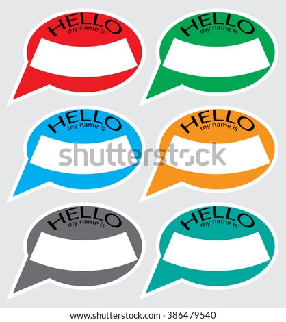 Hello my name sticker badge color. Name tag, name card, baby names, name plate, list of names, my name is, sticker label, hello tag, card my identification. Vector abstract flat design illustration - stock vector