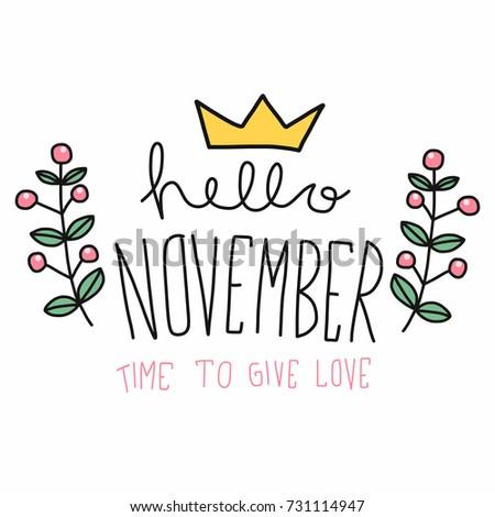 Superieur Hello November Word And Flower Wreath Cartoon Vector Illustration Doodle  Style