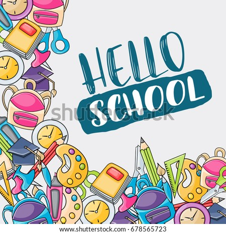 Hello school doodle clip art greeting stock vector hd royalty free hello school doodle clip art greeting card cartoon vector illustration for flyer or banner m4hsunfo