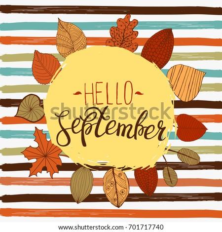 Hello September Autumn Flyer Template Lettering Stock Vector Hd