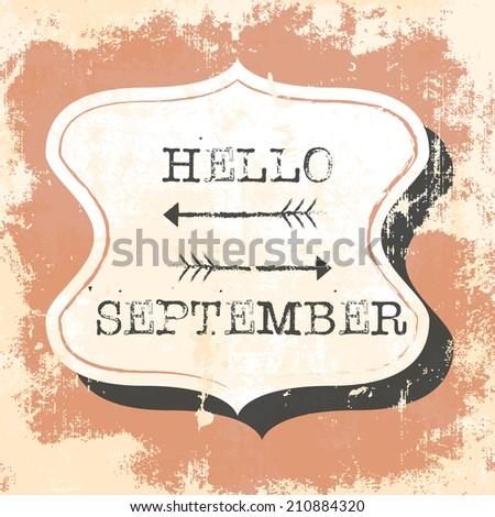 Awesome Hello September, Illustration In Vector Format Design