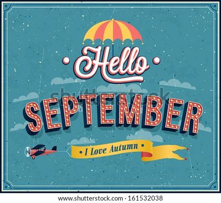 Hello september typographic design. Vector illustration. - stock vector