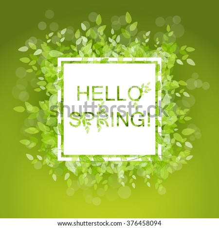 Hello Spring abstract background. Vector illustration. Design square element with green leaves - stock vector