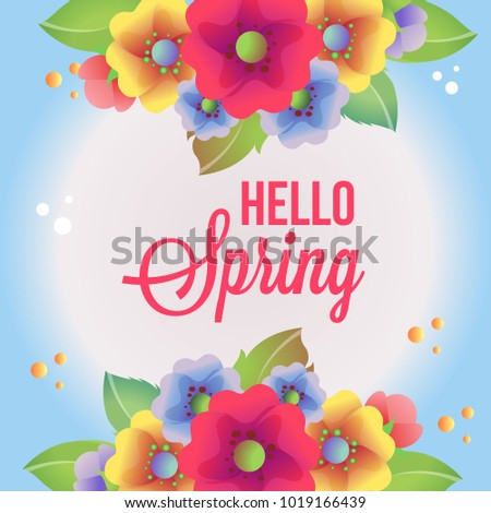 Hello Spring Card With Colored Flower