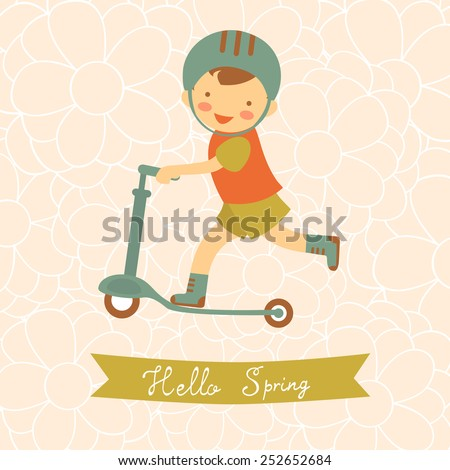 Hello spring card with cute little boy. vector illustration - stock vector