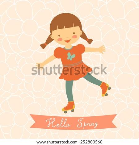 Hello spring card with cute little girl. Vector illustration - stock vector