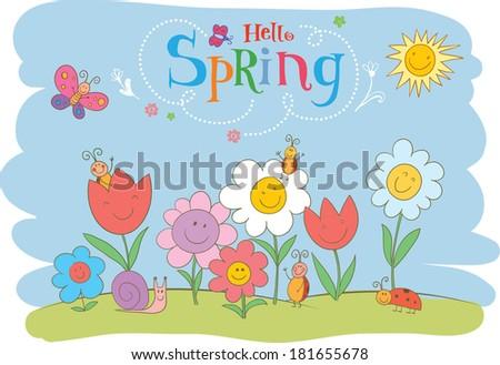 Hello Spring cute greeting card. - stock vector