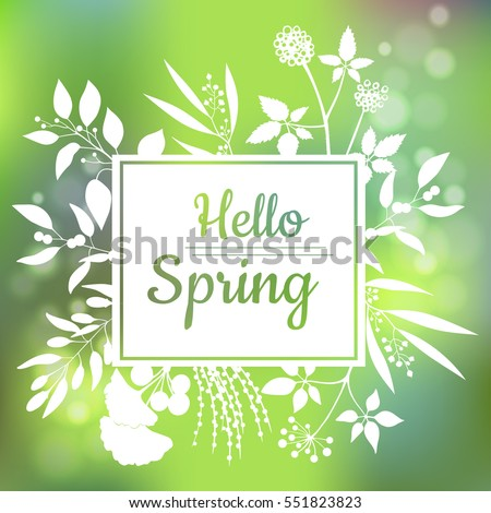 Hello Spring Green Card Design With A Textured Abstract Background And Text  In Square Floral Frame