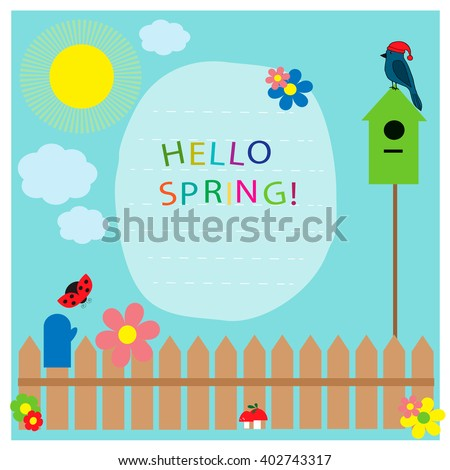 Hello spring! Greeting card.