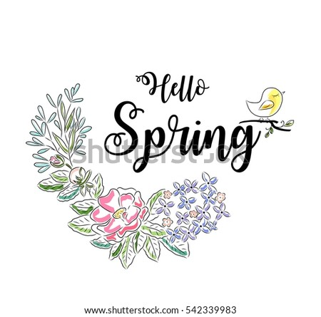 Hello Spring Greeting Card. Flower Wreath And Lettering.