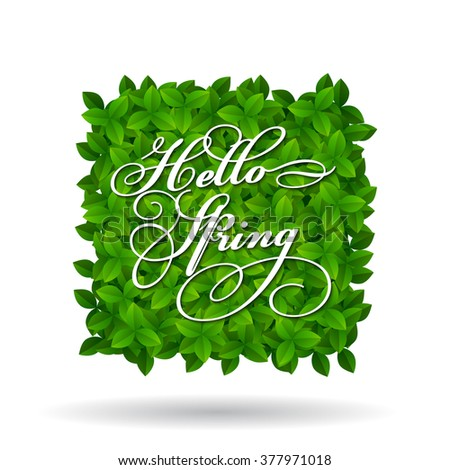 Hello Spring greeting in squar shape of fresh new young green leaves isolated on white for use as a design element for eco and bio concepts. Vector illustration. - stock vector