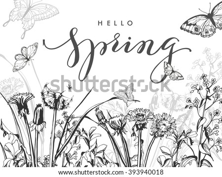 Hello, spring. Spring Concept. Spring background with Blooming spring  wild flowers, dandelions, grass, with butterflies. Template Vector. - stock vector