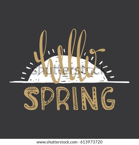 Hello spring stock images royalty free images vectors - Text banner design ...