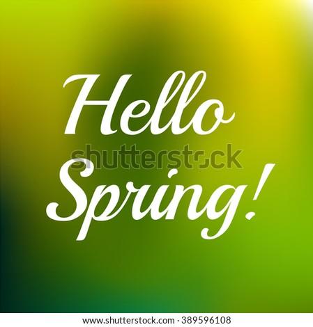 Hello Spring typo - stock vector