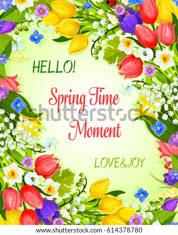 Hello Spring Vector Greeting Card With Springtime Flowers Bunch. Hello  Spring Time And Love Design