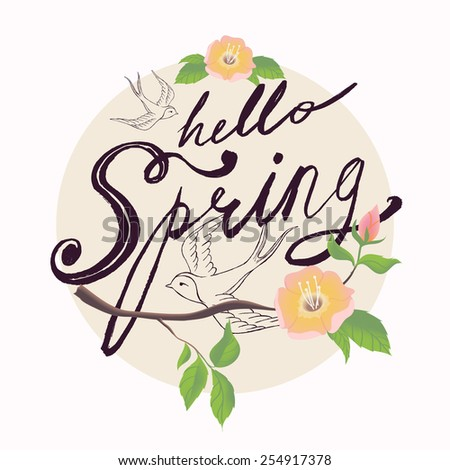 Hello Spring vector hand drawn retro brush script lettering circle design with swallows and tree branch with leaves and blossoms decorative element. Ideal for greeting cards, stickers and posters  - stock vector