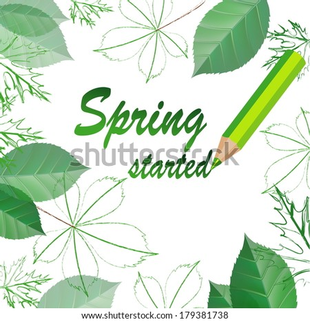 hello spring vector illustration. spring background. - stock vector