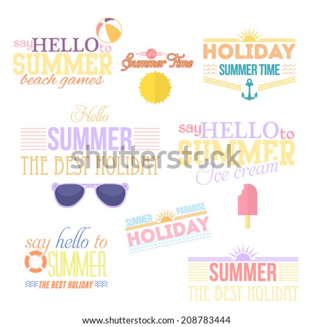 Hello Summer and Holiday Typographic Travel Badge Collections - stock vector