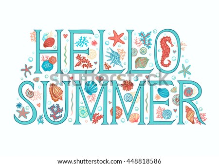 Hello Summer Background. Sea Beach Theme. Seasons Greeting Card, Printable  For Universal Size