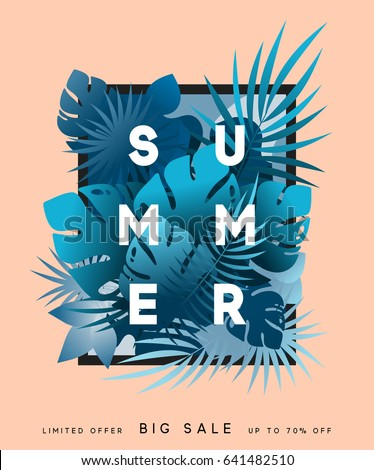 Hello Summer banner tropical background. Summer season, design poster with blue leaves