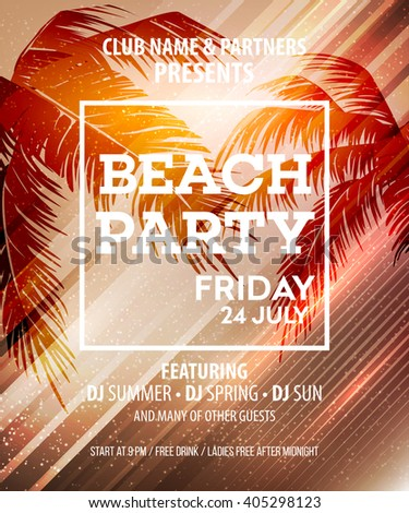Beach Party Flyer Stock Images RoyaltyFree Images  Vectors
